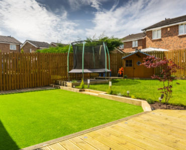 101817998 - a modern garden with  a new planted lawn decking shrubs  and borders. designed and owned by contributor. a good image for landscape gardiners or designers